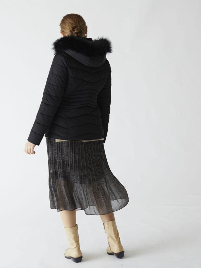 Puffer con pelo en la capucha Negro image number null