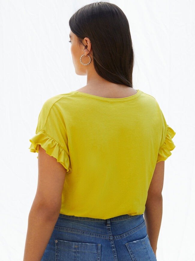 CAMISETA DETALLE VOLANTES amarillo blush