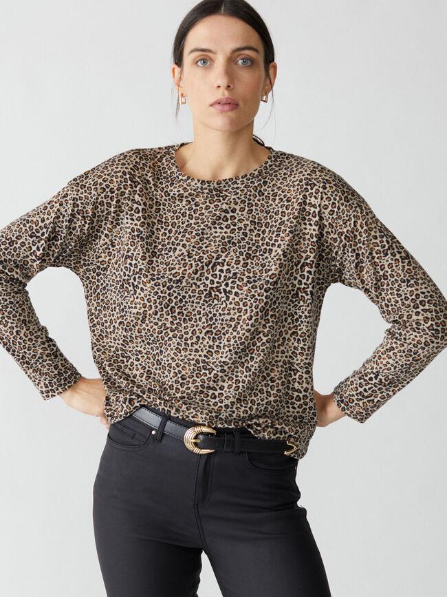 Camiseta estampado leopardo Negro image number null