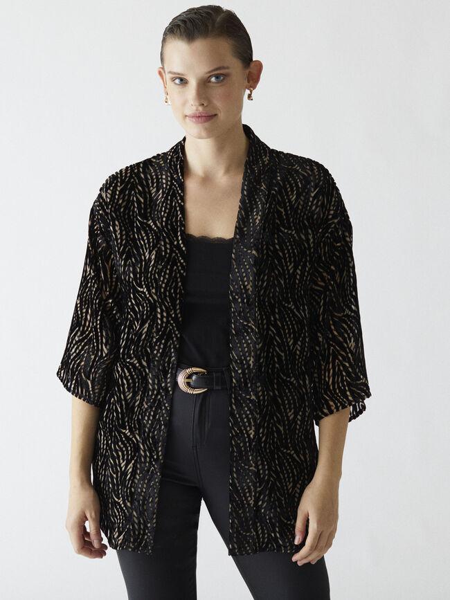 Kimono velvet devorado forrado Negro image number null