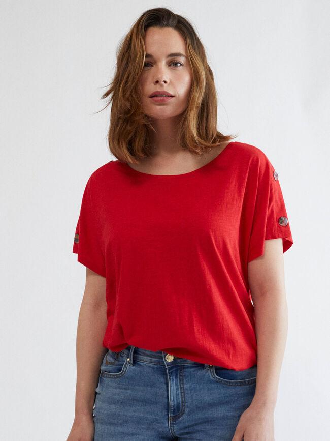 Camiseta botones hombros Rojo Claro image number null