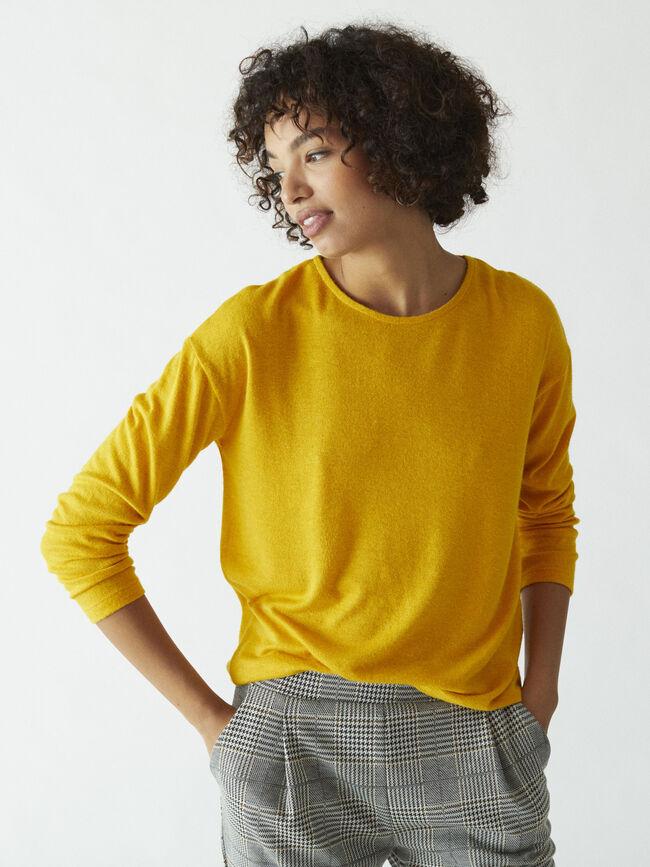 Camiseta lisa holgada Mostaza image number null