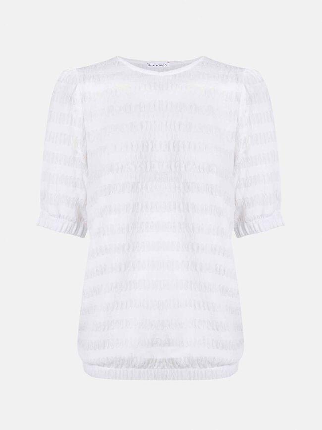 Camiseta m/c con goma elastica en manga Blanco Optico
