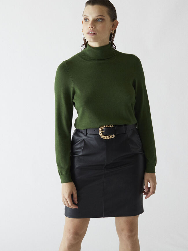 Jersey punto cuello alto Verde oscuro image number null
