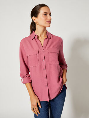 Camisa con bolsillos Rosa Oscuro image number null