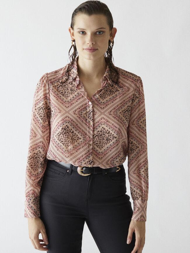 Camisa estampado leopardo geométrico Rosa image number null