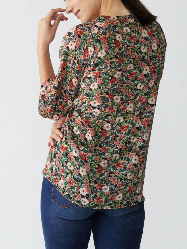 Blusa estampado floral frunces Negro