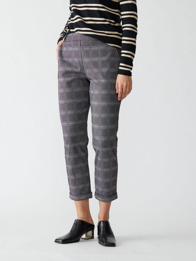 Pantalón cuadros slim fit Negro