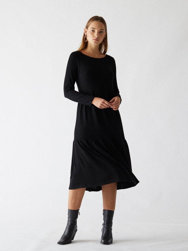 vestido largo m/l volante ancho Negro image number null