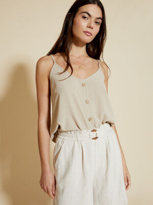 TOP LISO DETALLE BOTONES Beige Chambray image number null