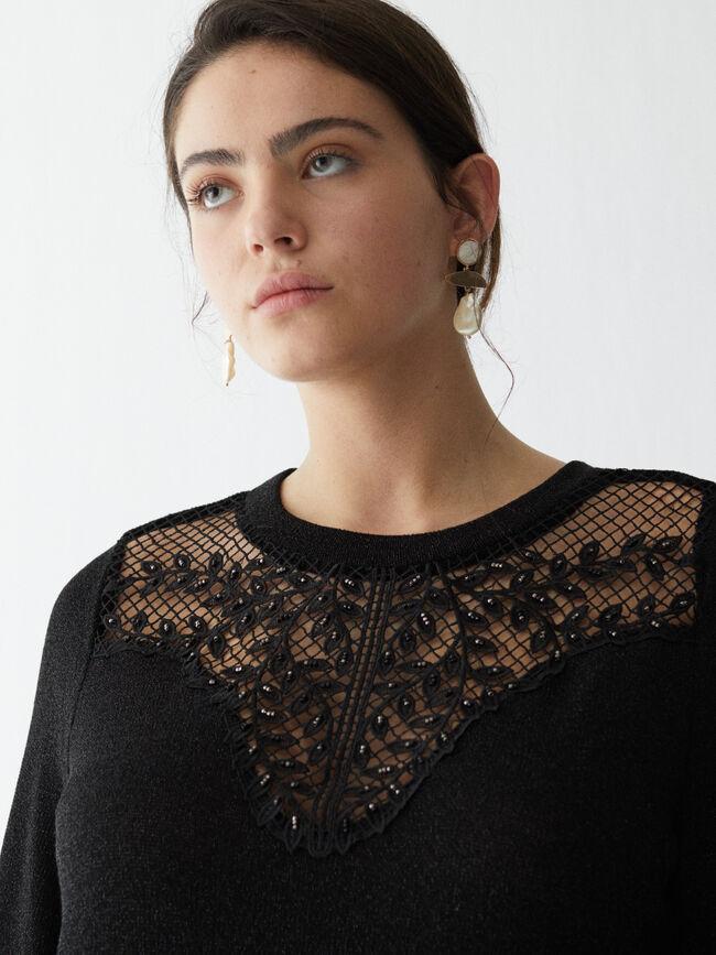 Sudadera con pechera de crochet Negro