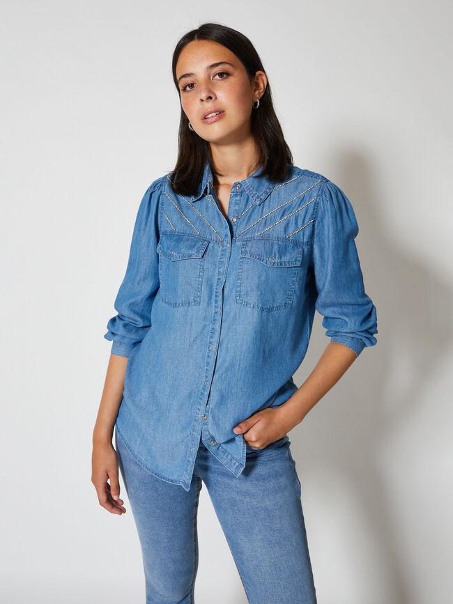 Blusa manga farol y strass canesu delant Mid Blue Wash