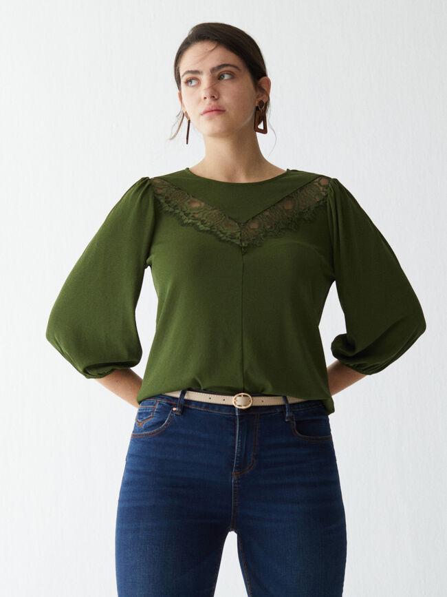 camiseta lace escote verde cypress image number null