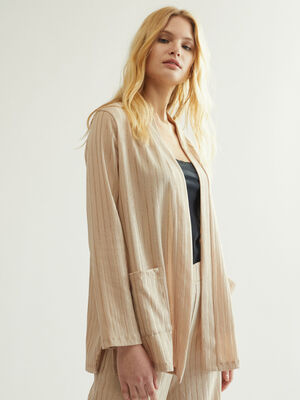 CHAQUETA DETALLE RAYAS Beige image number null