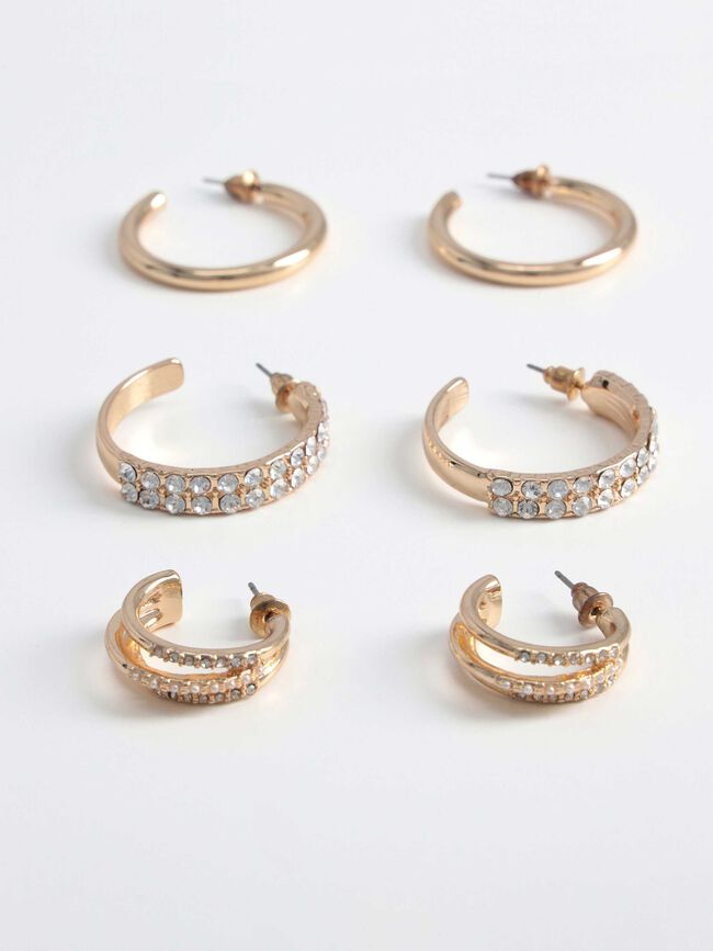 Pack pendientes aros strass Oro image number null