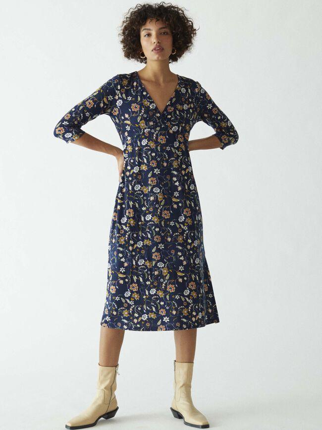 Vestido estampado floral nudo Azul Marino image number null