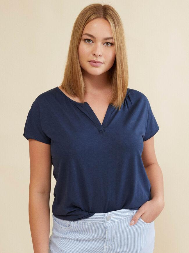 Camiseta abertura Azul Marino